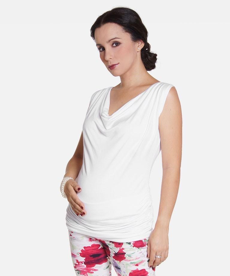 Blusa para embarazada - CUELLO CAIDO SISA BLANCO