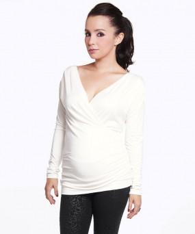 Blusa para embarazada - CRUZADA MANGA LARGA CRUDO