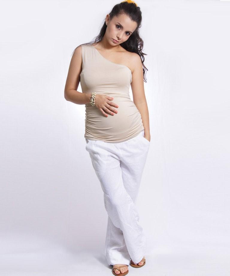 e0b07f185 Pantalón para embarazada - Lino blanco - Mamma Bella - Ecuador