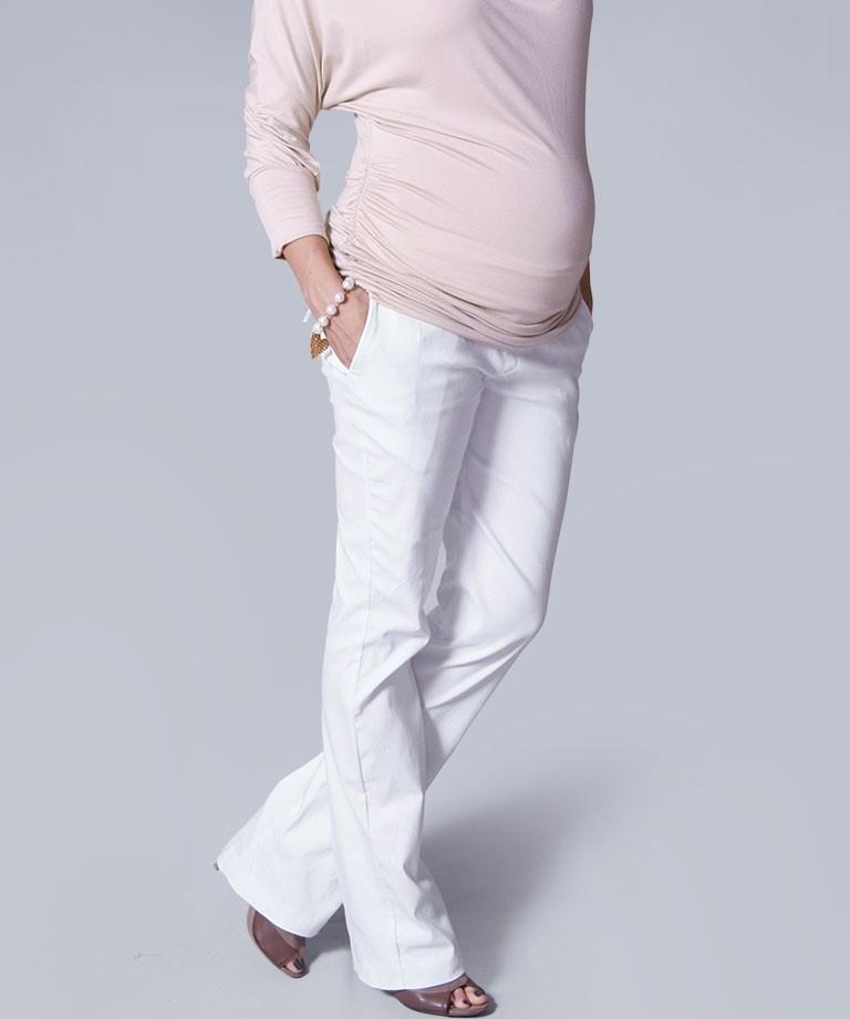 Pantalón para embarazada - Bota abierta blanco