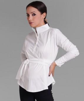 Camisa para embarazada - Cuello Mao blanco