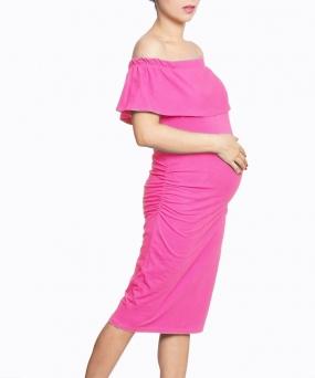 Vestido materno - BARDOT FUCSIA