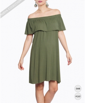 Vestido materno - OFF-THE-SHOULDERS OLIVA