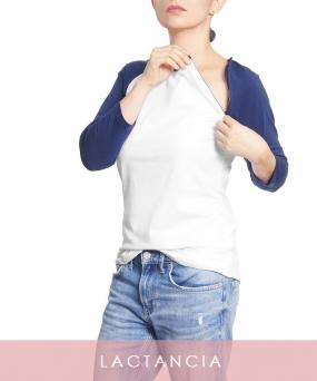 Camiseta de lactancia 3/4 BLANCO AZUL