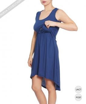 Vestido de lactancia - ASIMETRICO AZUL