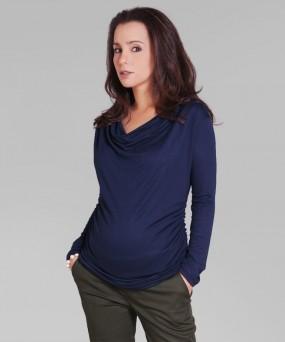 Blusa para embarazada - CUELLO CAIDO MANGA LARGA AZUL