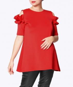 Blusa materna Ruffle Roja