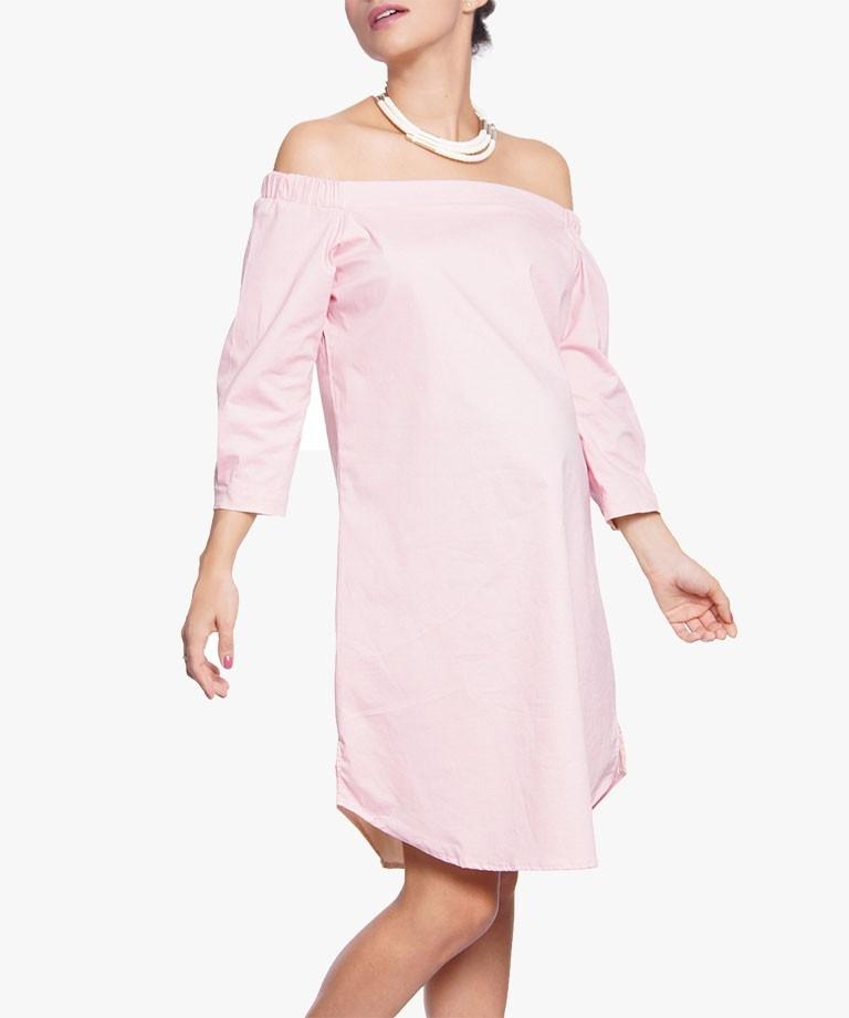 Vestido materno Strapless Rosa