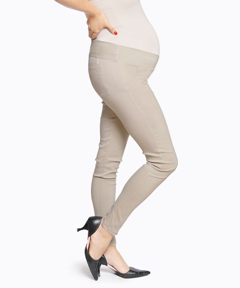 Pantalon materno Skinny camel