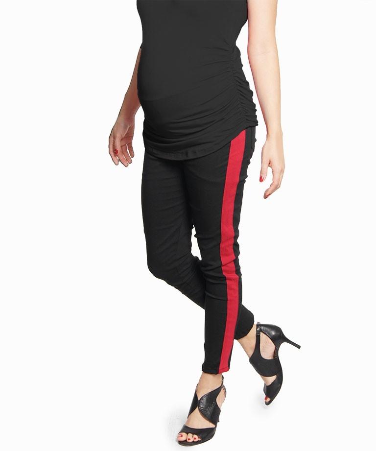 Pantalon materno Skinny Duo Negro y rojo