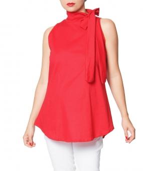 Blusa materna Sisa con moño roja